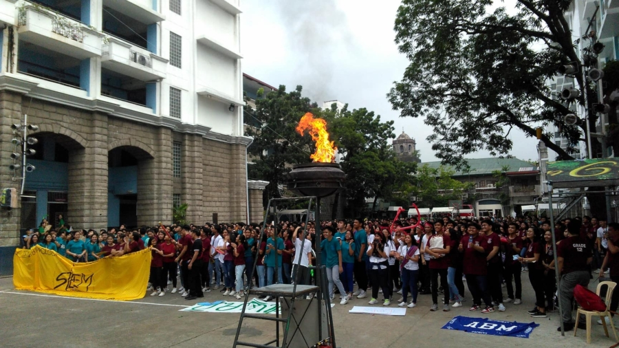 The lighted torch - symbol of formal opening of Intramurals