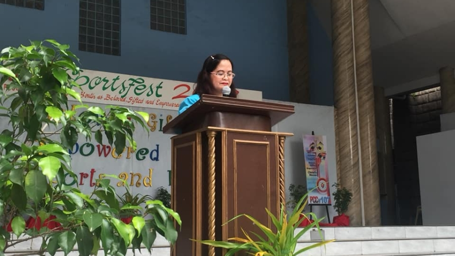 Mrs. Victoria Landicho, JHS Principal, gave her Opening Remarks during the ceremony.  Photo credit: The Crusader